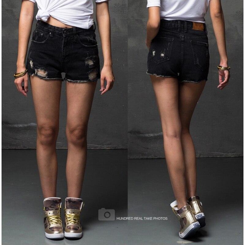 Online Shop Sexy Cheap Cute Girls Destroyed Black Denim Shorts for ...