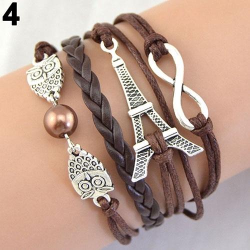 Women Bracelet Multi Layers Owl Eiffel Tower Wax Rope Infinity Charm Leather Bracelet Bangle Women Accessory Fashion Jewerly