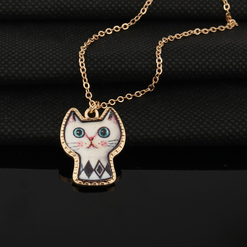 1PC Cute Cartoon Cat Animal Link Chain Necklace Gold Color Enamel Chains Necklaces For Women Jewelry For Child Christmas Gift 6