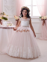 Vintage holy the First Communion Dress sheer Lace Appliques Floor Length beads Tulle Ball Gown Pink Scoop Flower Girl dress