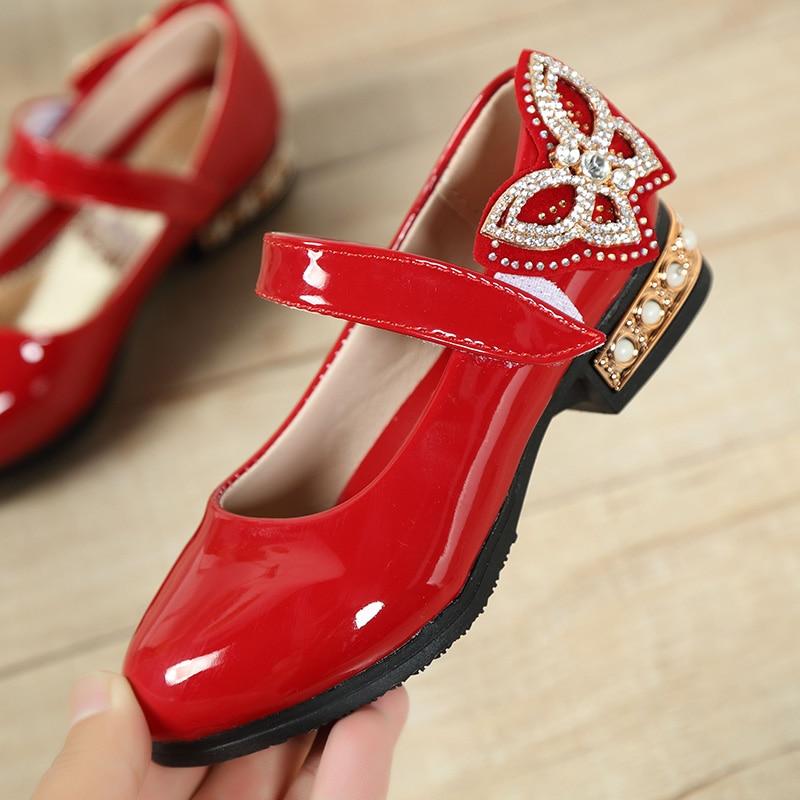 Fashion Rhinestone Big Girls Shoes With Rose Flower Fashion Princess Slip-on Children Flat Shoes For Girls Shoes Size 6-13