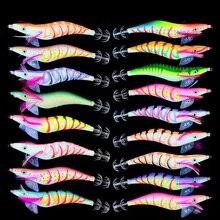 20pcs 4.0# Squid Jigs Hook wooden shrimp fishing lures 15CM 27G artificial Wood squid Bait YY004