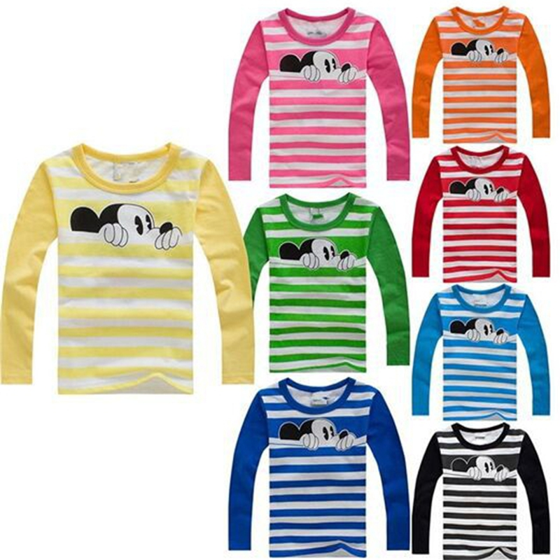 Kids T Shirt Autumn Winter Cartoon Long Sleeve Baby Boys Girls T-Shirt Children Round Neck pullovers Tee Unisex Clothes cotton bull and letters print round neck short sleeve t shirt