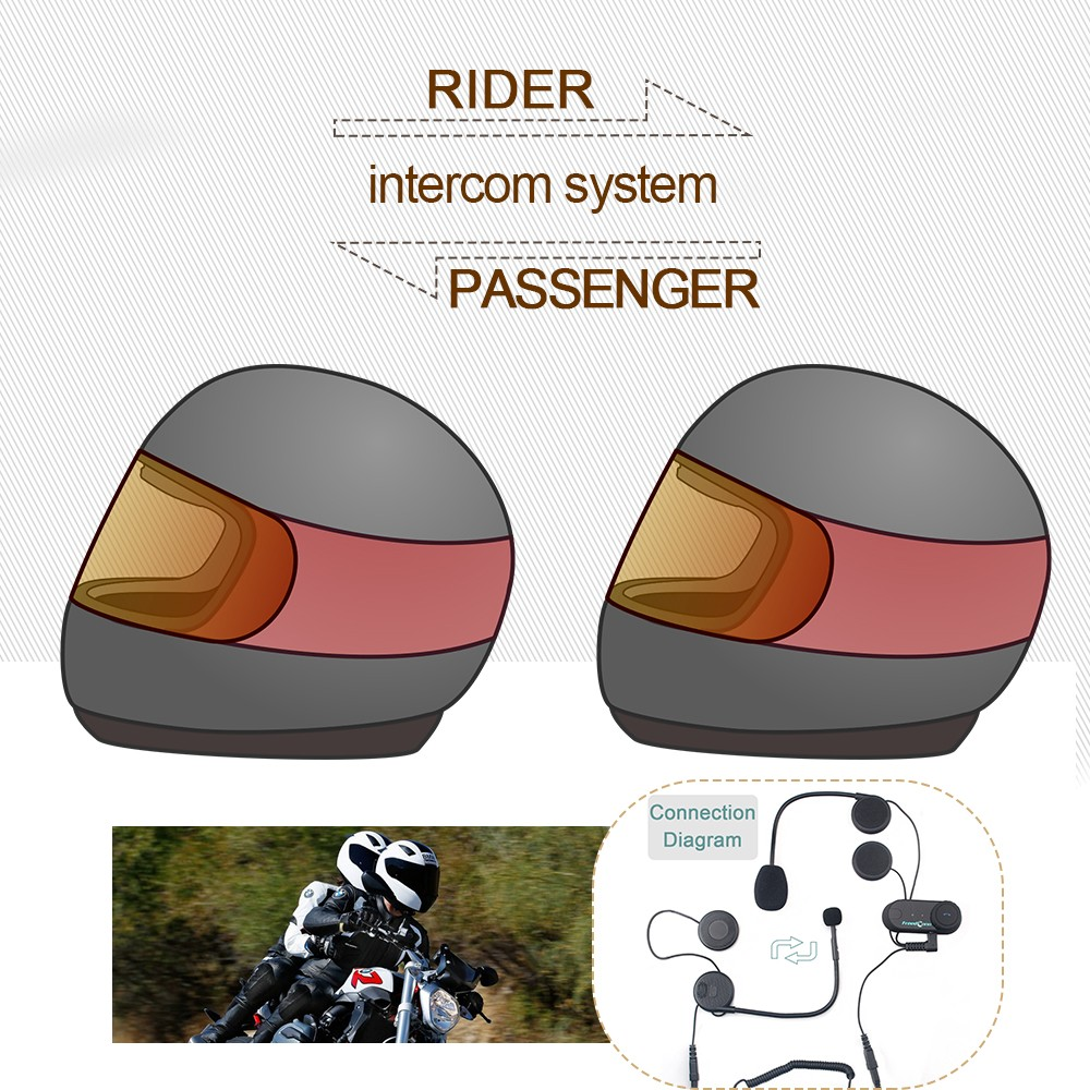 2016 Newest 1 pc To Intercom Talking Pillon Passenger Motorcycle Bluetooth font b Helmet b font