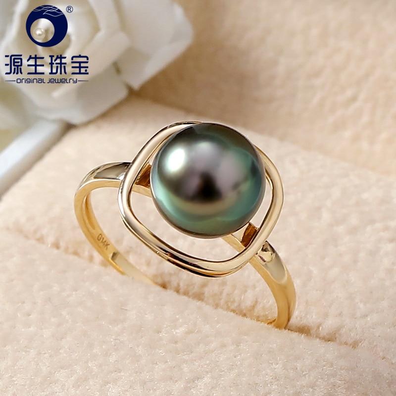 YS Pure 14k Gold 8 9mm Black Tahitian Pearl Ring Wedding Fine Jewelry