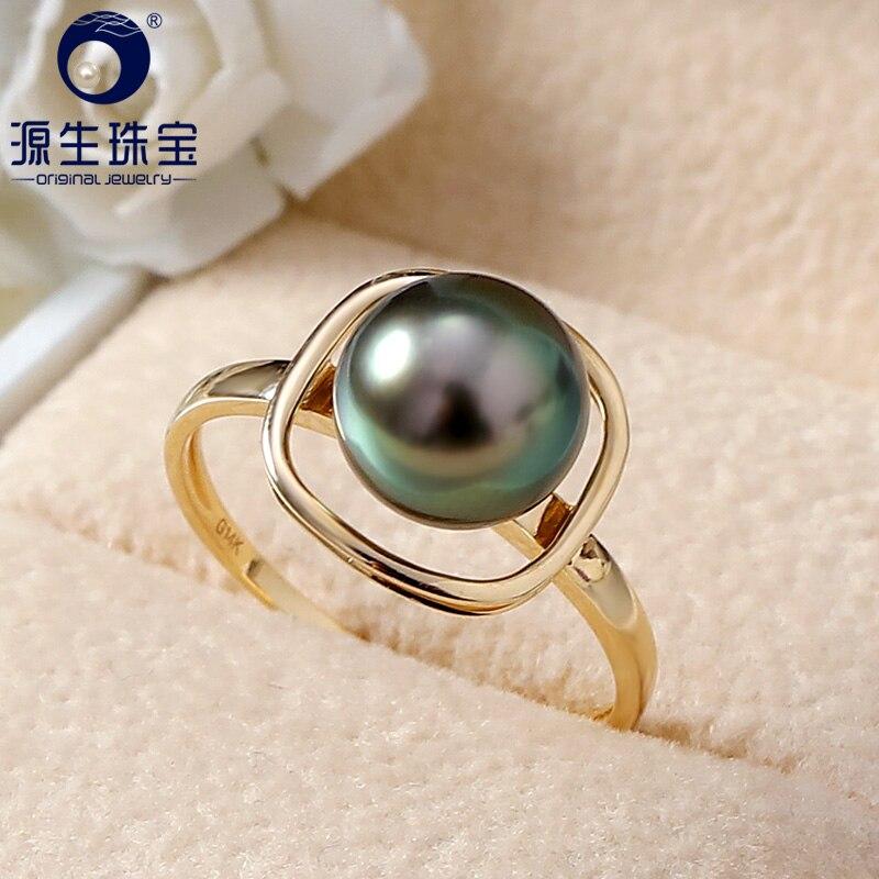 YS Reine 14 karat Gold 8-9mm Schwarz Tahitian Perle Ring Hochzeit Edlen Schmuck