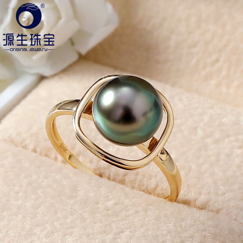YS pur 14 k or 8-9mm noir perle de tahiti bague de mariage bijoux fins