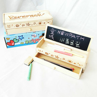 Multifunctional Wooden School Pencil Box Pen Case Vintage Stationery Holder With Chalk And Blackboard Gift For