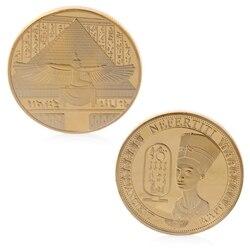 Египетский фараон памятные монеты Позолоченные Древний Египет Нефертити памятная задача коллекция монет подарок