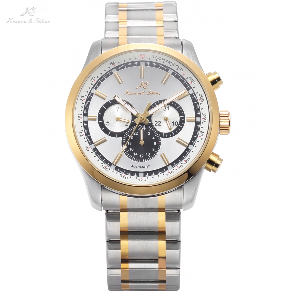 KS Automatic 3 Dial Analog Date Day Golden Silver Steel Band Strap Mechanical Mens Fashion Wrist Watch relogio masculino /KS311 ks luxury automatic self wind date day 24 hours black 3 dial steel strap mechanical wrist watches mens gents timepieces ks307