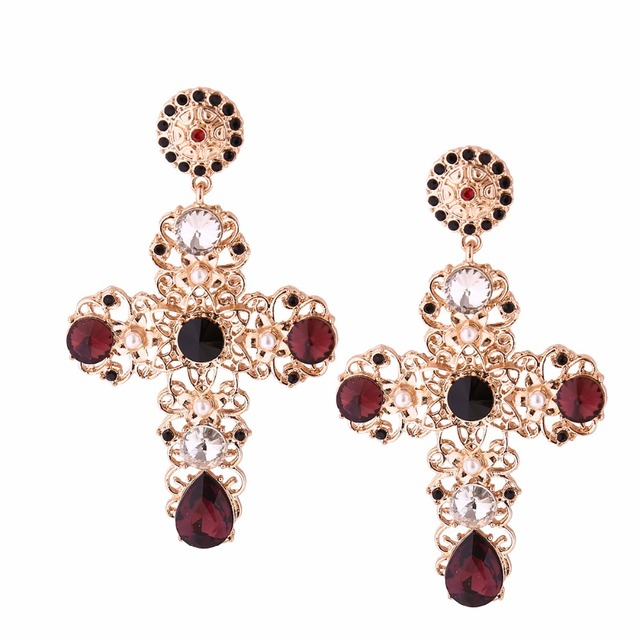 riam siam elements earrings pave drop crystal swarovski red