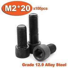 100 pc de aço DIN912 M2 x 20 12.9 preto rosca completa de parafusos de cabeça hexagonal