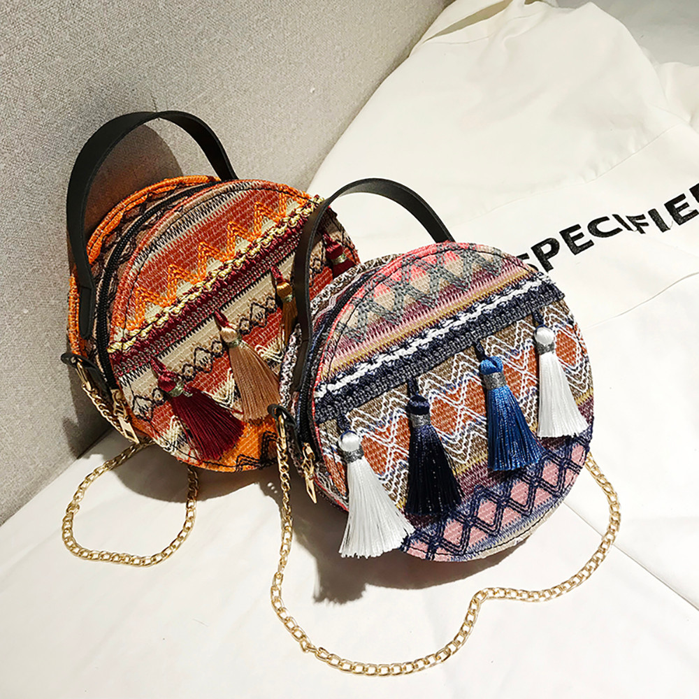 Women Tassel Chain Small Bags national wind round bag packet Lady Fashion Round Shoulder Bag Bolsos Mujer#A02 106