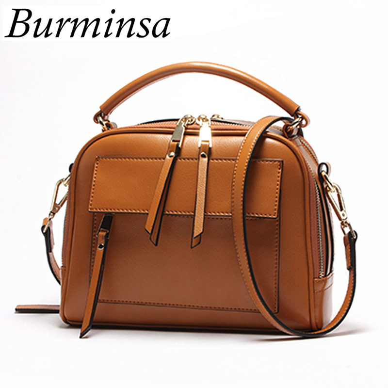 Burminsa Brand Boston Women Genuine Leather Bags Summer Motorcycle Ladies Designer Handbags High Quality Shoulder Messenger Bags машинки s s космо