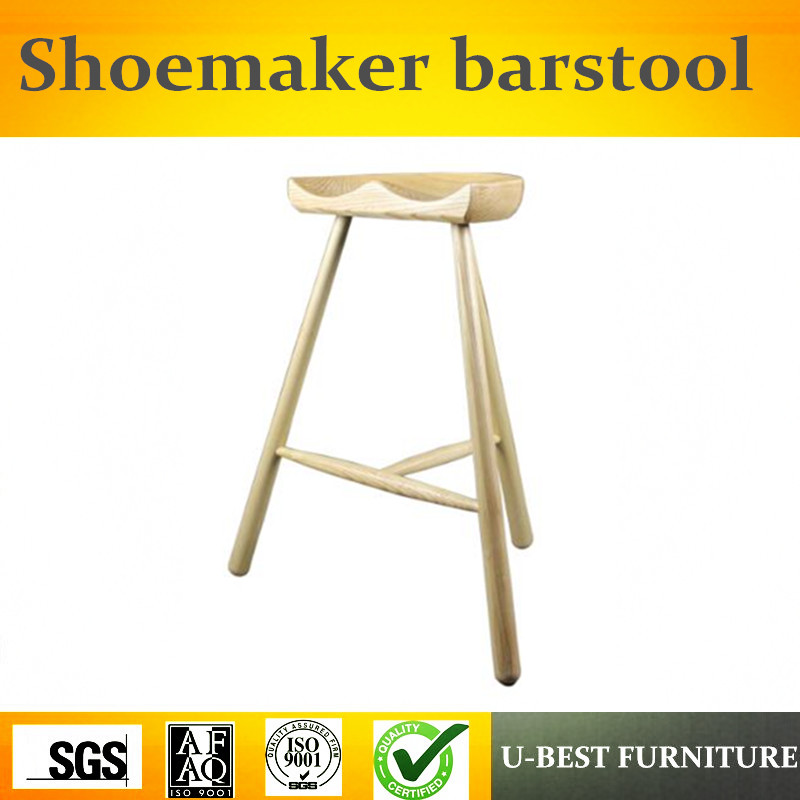 Free Shipping U-BEST Scandinavian Style Furniture Solid Wood Shoemaker Barstool With Three Legs