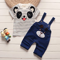 New Baby Clothing Set 2016 Summer Cotton Overalls For Baby Boys Tshirt + Sling Letter Pants Infant Clothes Romper Kid Clothes