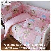 Promotion! 6/7PCS Cute Baby Cot Set 100% Cotton Crib Set For Kids, Baby Bedding Set Unpick, 120*60/120*70cm