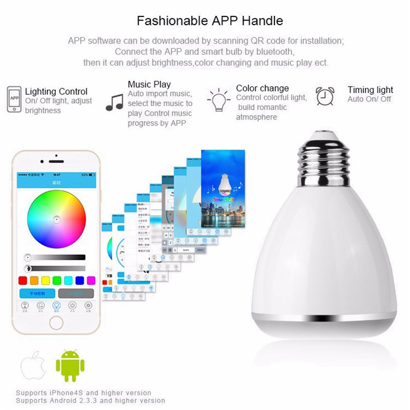 Mising 9W E27 Light Bulb APP Control Bluetooth Speaker RGB LED Music Bulb AC100-240V Bright Shades Timing Alarm Smart Bulb