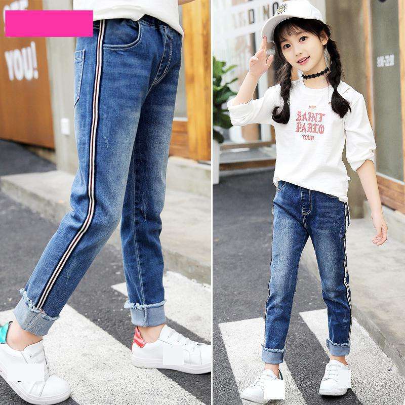 Children Jeans For Girls Teenager New Fashion Skinny Elastic Waist Solid Kids Jeans Teens Trousers Back To School Outfits 10 12 vanled cashmere winter warm jeans women with high waist black jeans for girls stretching skinny jeans elastic waist large size