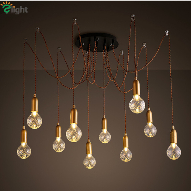 Modern Simple Glass Diy Led Chandeliers Re Copper Loft Bar Chandelier Lighting Rope Spider