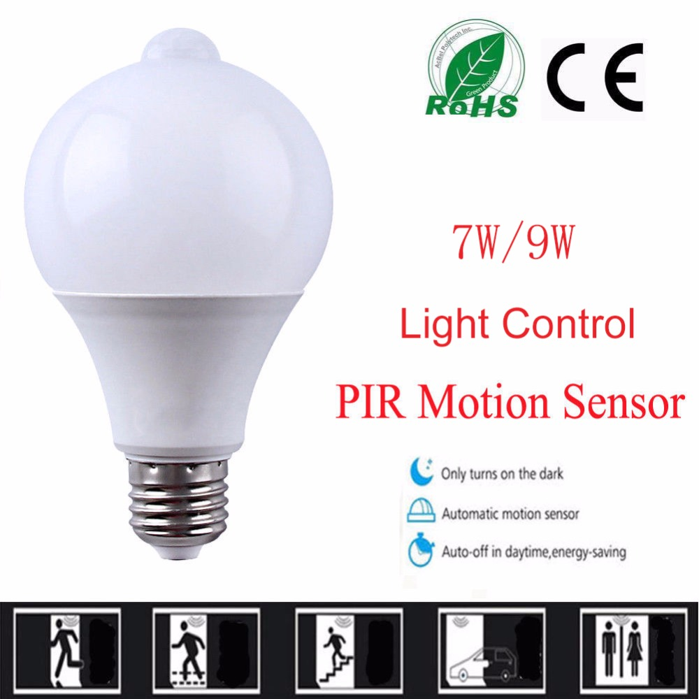 10PCS LED PIR Motion Sensor Lamp Led Bulb 7w 9w Auto Smart Led PIR Infrared Body Sound + Light E27 Motion Sensor Light 10pcs 9w pir motion sensor led bulb light control motion sensor light e27 led bulb auto smart led pir infrared body sound