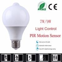 10PCS LED PIR Motion Sensor Lamp Led Bulb 7w 9w Auto Smart Led PIR Infrared Body Sound + Light E27 Motion Sensor Light