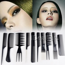 10Pcs Black Professional Salon Hairdressing Barbers Brushes Plastic Hair Combs Set For Hair Styling Tools