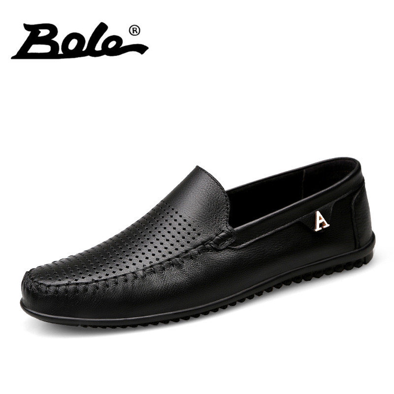 BOLE New Summer Punching Breathable Men Leather Shoes Fashion Walking Slip on Metal Decoration Men Casual Shoes Flats Shoes Men stylish men s casual shoes with breathable and metal design
