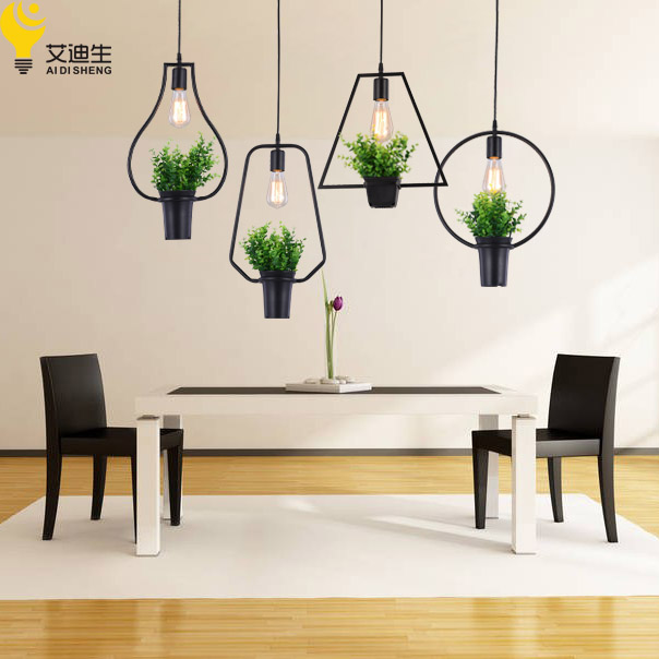 Modern Plant Pot Deco Pendant Lamp Fashion Nordic Shade Dining Table Hanging Light Fixture DIY Luminaire Office Lighting In Lights From