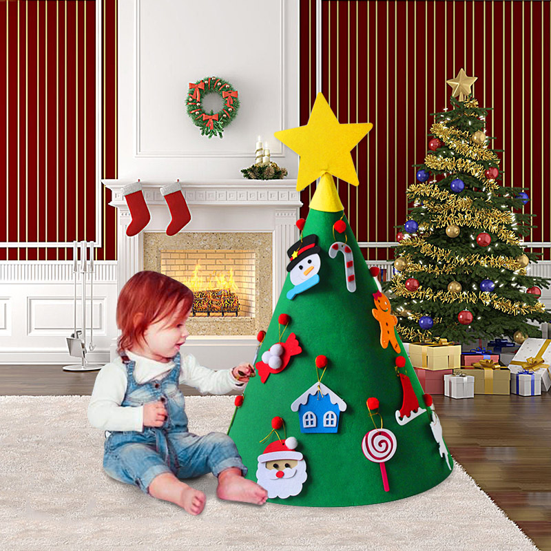 1set 3D Green Tree Christmas Decorations for Home Santa ...