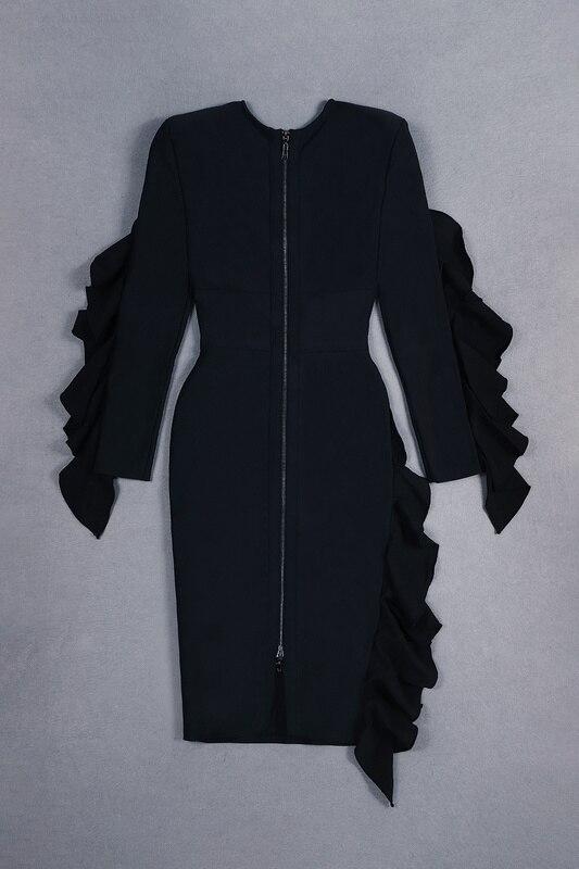 Da Ruffles Inverno Lavorato Lunghe Vestito Sexy Nero Fasciatura Nuovo Maglia Ha Di Elastico Del 2018 Partito Modo A Dalla Maniche d1wxd0UFq