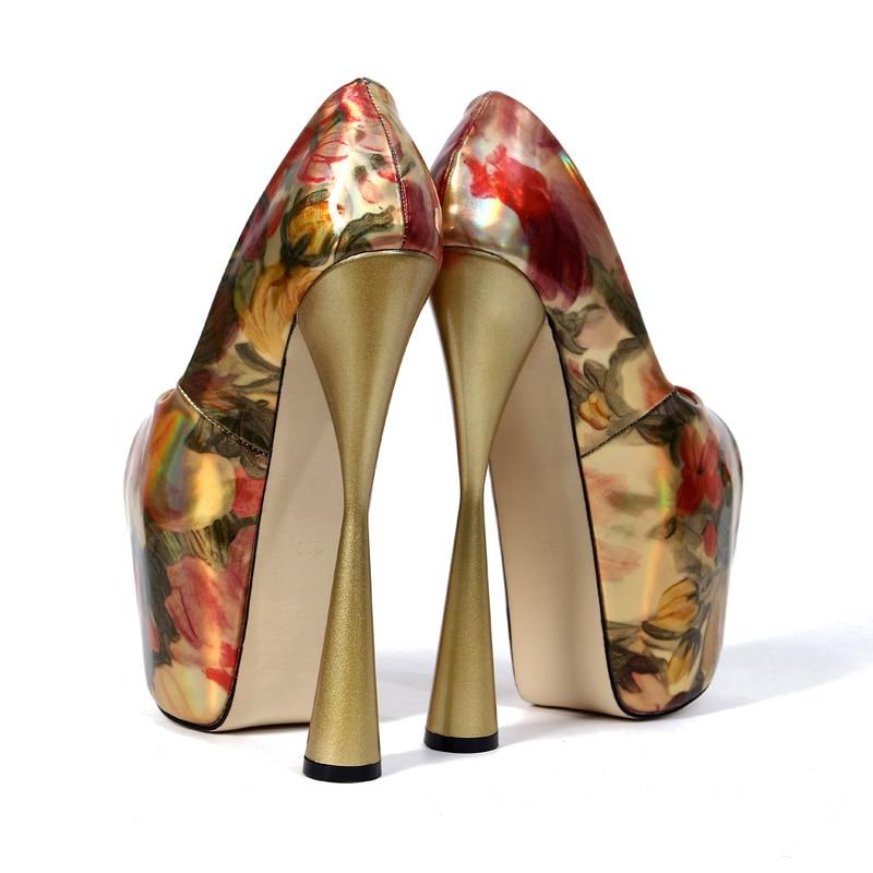 Chaussures Wp1082 Impression Peep 43 En 34 Joyhopy Talons D'été forme Femmes Des Cuir Gold pink Hauts Épais Pompes Plate Taille 19 Cm Verni La Toe Plus 66gA1OvB