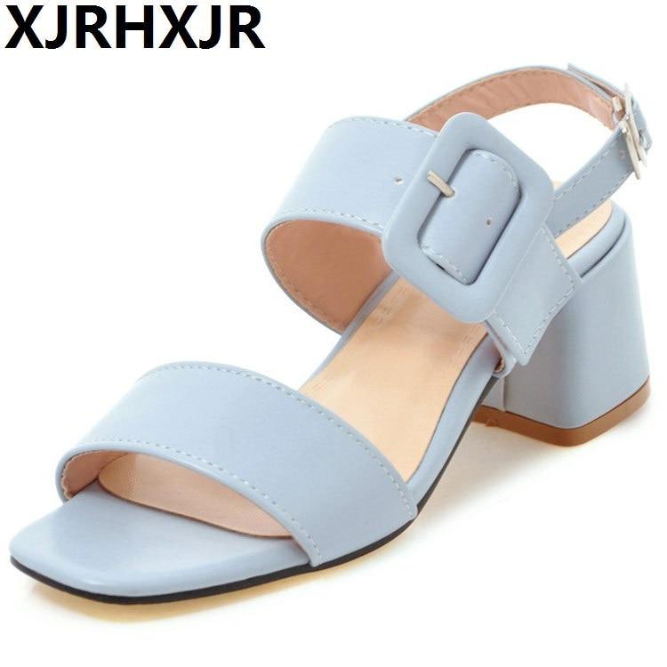 XJRHXJR New Thick Medium Heel Sandals High Quality Summer Women Shoes Pink Blue Color Comfortable Shoes Woman Big Size 34-43 inc new pink paisley print studded cutout women s size medium m blouse $69 049