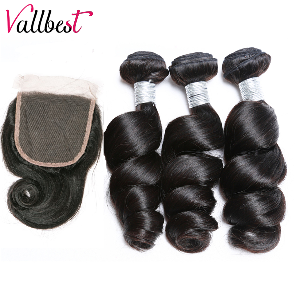 Vallbest Brazilian Hair Weave Bundles With Closure Loose Wave Hair Human Hair 3 Bundles With Closure Non Remy Hair Brown Lace 1b