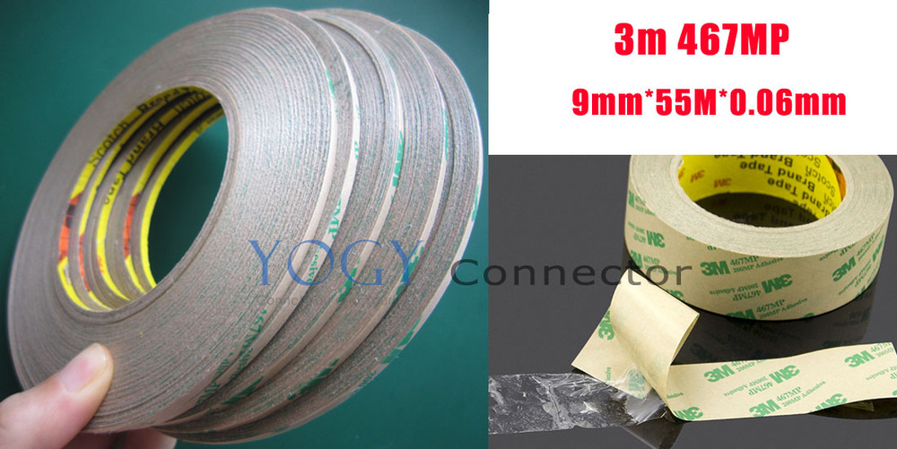 1x 9mm Ultra Thin 3M 467MP Double Sided Tape Sticky, Hi-Temp Resist, Panel Adhesive for PCB Rubber Bond Sticky 5x 0 06mm thickness 10mm 55m ultra thin 3m 467mp double sided adhesive film tape for laptop pc gps nameplate switch bond