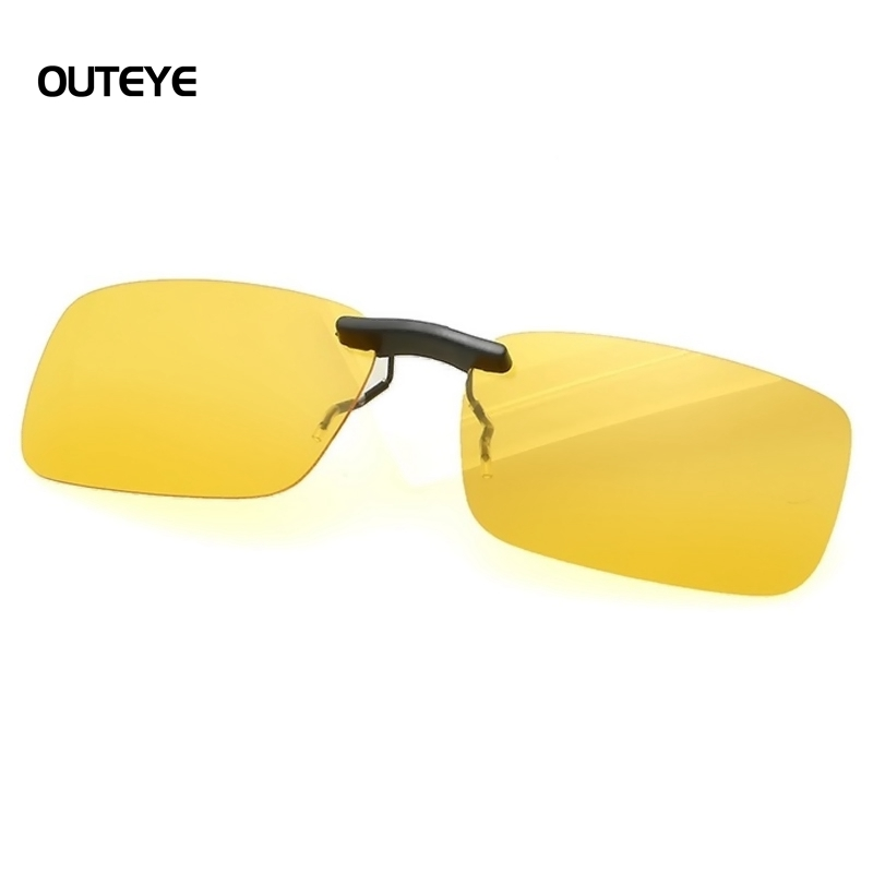 OUTEYE UV400 Sunglasses Clip on Unisex Eyeglasses Night Driving Glasses Anti Glare Vision Driver Safety Sunglasses Yellow Lens outeye 2016 new men women polarized clip on sunglasses oculos sun glasses driving night vision lens unisex anti uva anti uvb