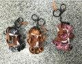 Flyer Bear Key chains Real Leather Bear Purse Charm Genuine Pendants Keyring Cool Punk Key Ring Keys Holder Novely Accessories