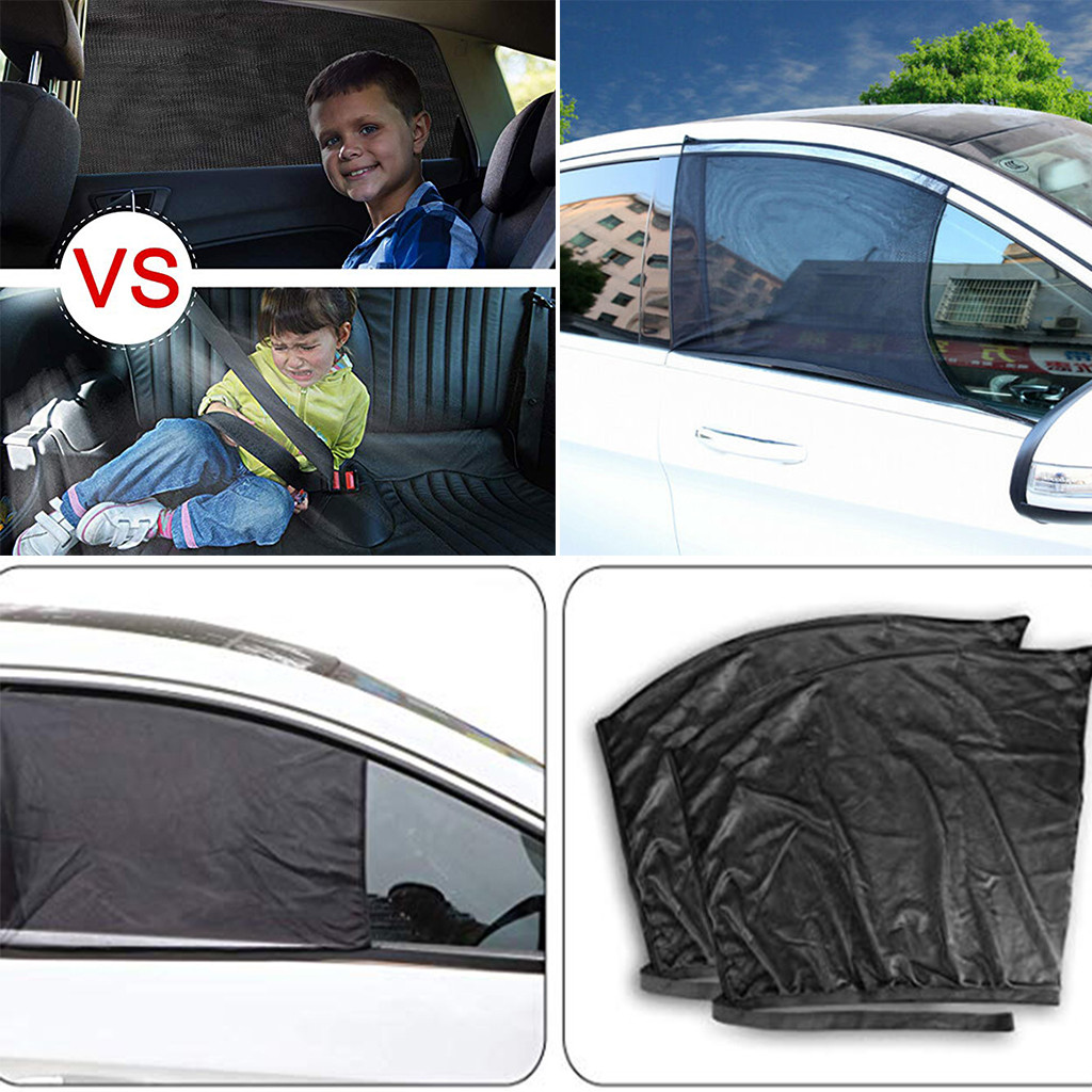 2PCS SUN SHADE SCREEN PROTECTOR BLACKOUT CAR WINDOW UV PROTECTION BLIND MESH NEW
