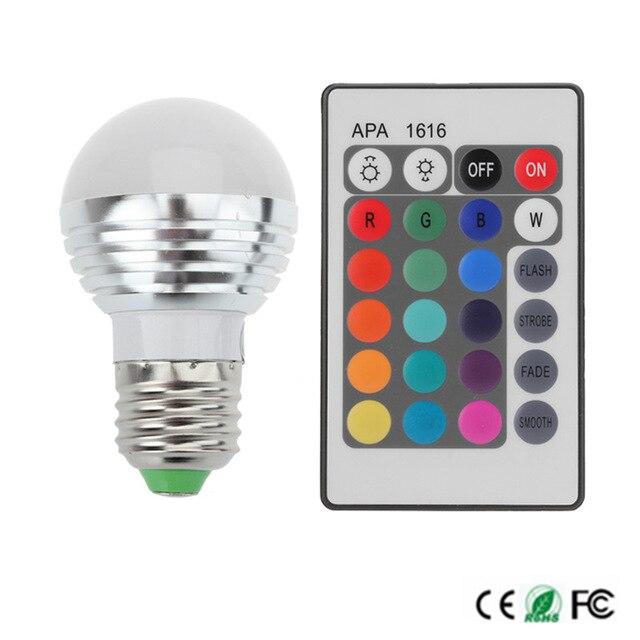 Высокая Мощность <font><b>rgb</b></font> светодиодные лампы E27 E14 3 Вт <font><b>RGB</b></font> света Дистанционное управление 16 Цвет изменение с Дистанционное управление;