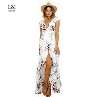 LZJ Floral Print Frilly Chiffon Maxi Dress Vestidos 2017 New V Neck Sexy Split Summer Beach