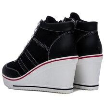 Causal Shoes Woman Breathable Platform Black White Canvas