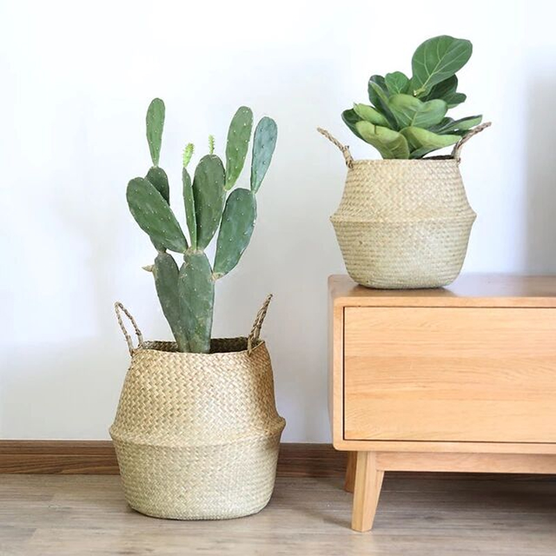 WHISM Folding Storage Basket Handmade Rattan Sundries Container Seagrass Belly Basket Wicker Makeup Organizer Laundry Baskets in Storage Baskets from Home Garden