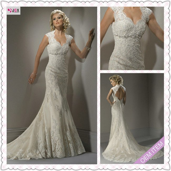 Lace Mermaid Wedding Dress Ireland : Hs sexy mermaid cap sleeve open back irish lace