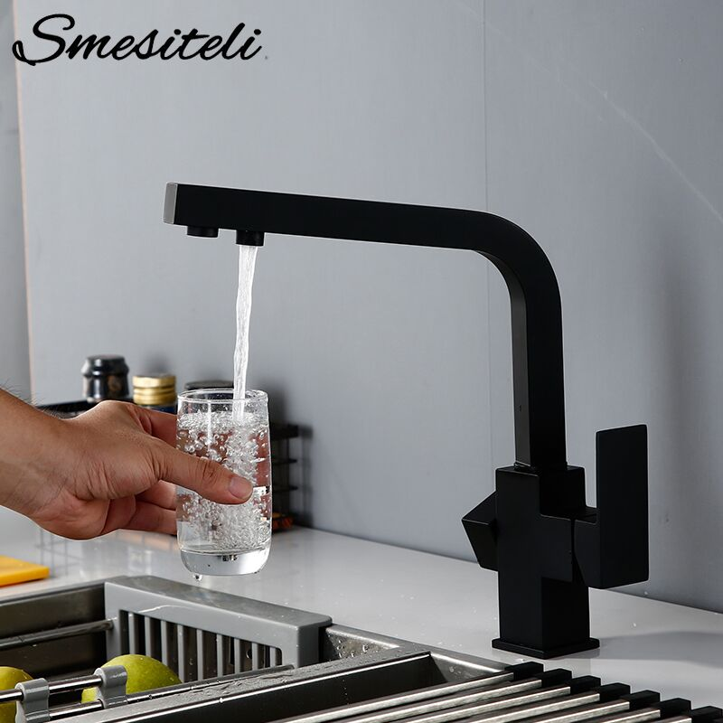 Smesiteli Brass Kitchen Faucets 3 Way Water Tap Filter Faucets Dual Holder 360 Degree Rotation Drinking Water Kitchen Faucets