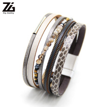 ZG Nature stone Woman Leather Bracelet Pulseira Magnetic Buckle Multilayer Women Fashion 2019