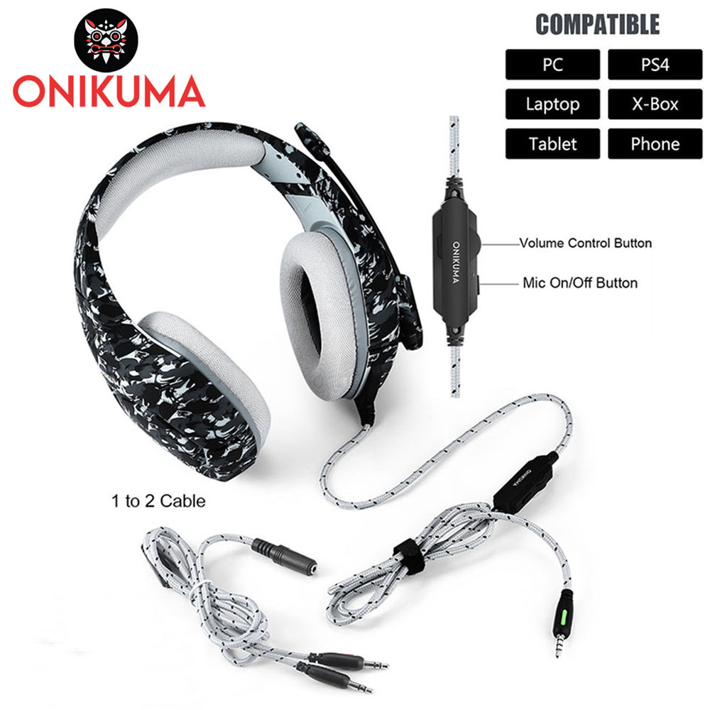 ONIKUMA K1 Casque Camouflage PS4 Headset with Mic Stereo Gaming Headphones for PC Cell Phone New Xbox One Laptop (1)