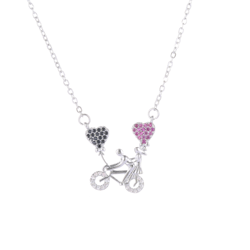 2017 Fashion Micro Pave Crystals Sweet Romantic Lover Bicycle Pendant For Women Engagement Chocker Necklace DIY Making Collier