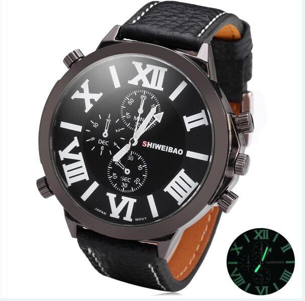 shiweibao Brand Sports Men Big Watch Leather Strap Quartz Watch Oversized Male Military Clock reloj hombre