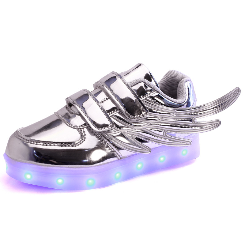 2017 New Children Wings Shoes Kids Usb Charger Luminous Fashion Sneakers Boys Girls Led Light Glowing Wing Shoes little boys girls led light wings shoes for children fashion kids usb charging luminous sneakers glowing shoes