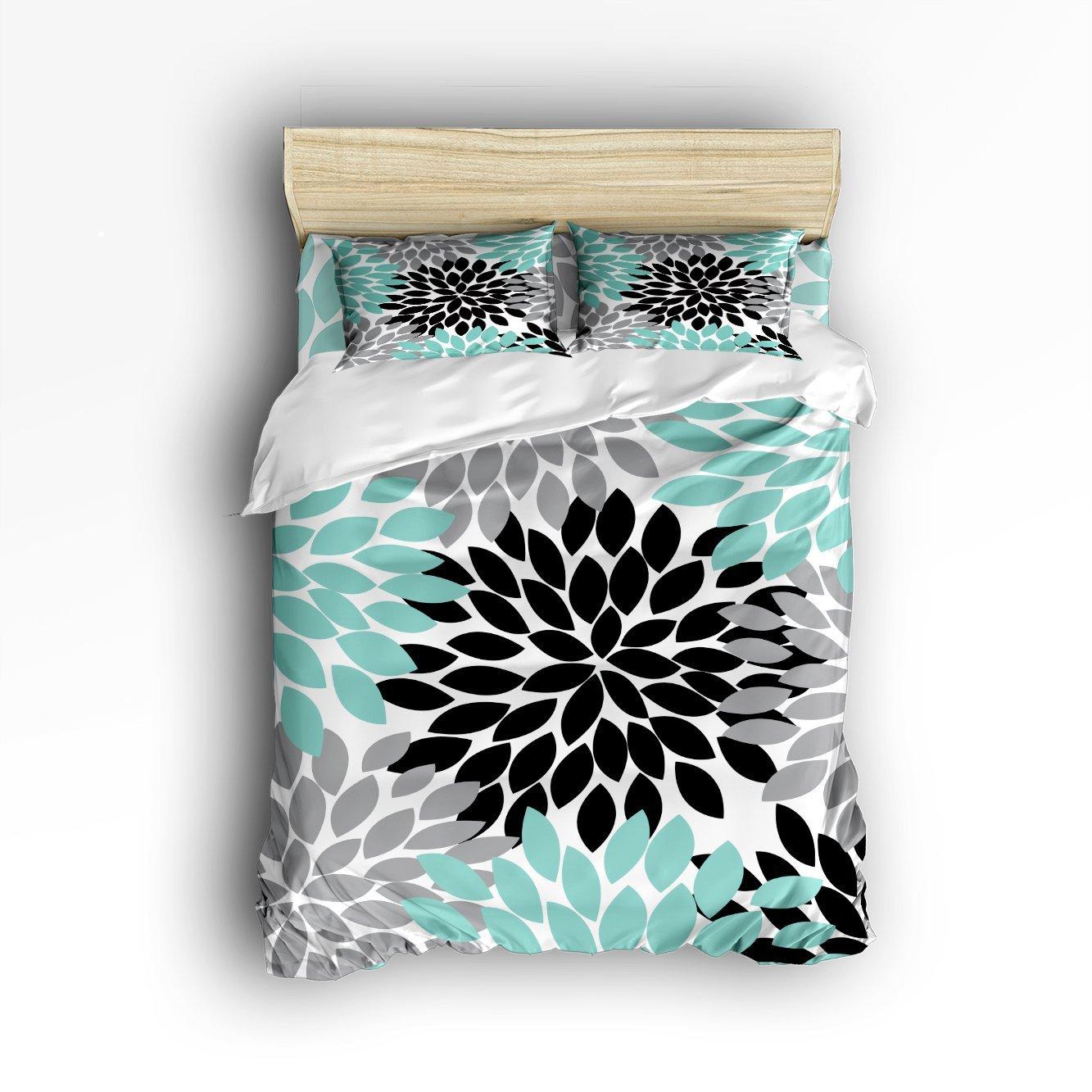 Ensemble de literie Queen Size-multicolore Dahlia Pinnata fleur housse de couette ensemble couvre-lit 4 pièces-sarcelle, noir, gris